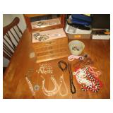 Jewelry Box With Contents, Variety Costume Jewelry