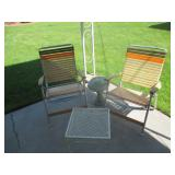 2) Yard Chairs, Yard Ornament, Small Table
