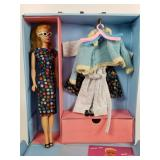 Barbie, clothes and case