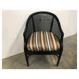 Painted bamboo arm chair with stripped seat.