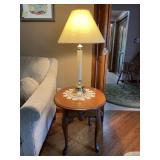 Modern oak Queen Anne lamp table & lamp