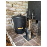 Fireplace implements & ash can