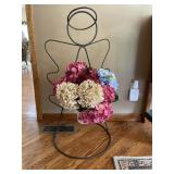 Wire angel planter with silk flowers