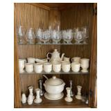 Contents of modern oak China cabinet
