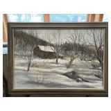 Oil on canvas snow scene by Robert Doney