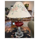 Cranberry and clear oil lamp