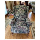 Tapestry reclining wing chair