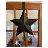 Pair tin star shaped wreath holders