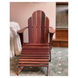 Teak wood slatted chair with ottoman