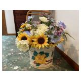 Painted wooden bucket with artificial flowers