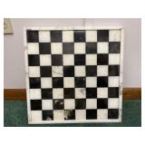 Black and white marble chessboard
