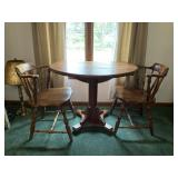 Modern pine drop leaf table with two chairs