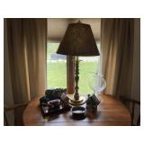 Miscellaneous grouping of decor items, lamp