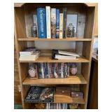 Contents of open bookshelf