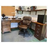 Three piece wooden desk set, file and chair
