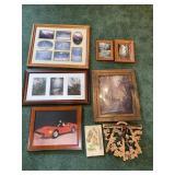 Decorative framed prints, cut out well shelf