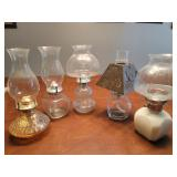 5 glass oil lamps