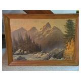 Robert Wood print, scenic mountain landscape