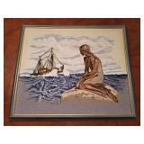 Mermaid & ship embroidered art