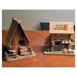 2 decorative birdhouses