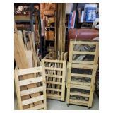 3 rolling wood storage bins