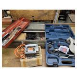 Belt sander, jigsaw and soldering set