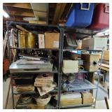 2 shelving units & contents