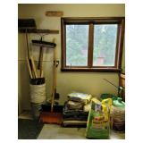 Mulch, concrete, tools, etc