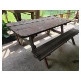 Wood picnic table & benches