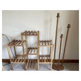 Wooden plant stand and candlestand