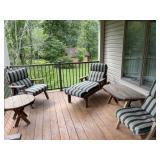 Five piece wooden patio set
