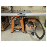 """10"""" Ridgid table saw with dust collection"""