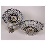 Open lattice handled porcelain bowls
