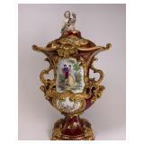 Hand Painted Porcelain lidded urn