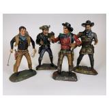 4 Carved Wood Outlaw Figures