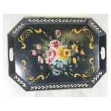 Large Metal Floral Painted Serving Tray