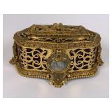 Early Ornate brass dresser / trinket box