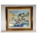 Richard de Premare Harbour Scene Oil on Canvas