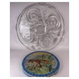 Very Large Glass Server Plate & A Garden Stone
