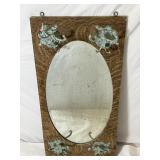 Antique Beveled Mirror in Artist Set W/ Hooks