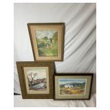 3 Various Artist Framed Water Colors
