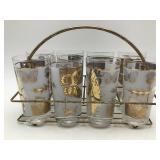Butterfly Tumblers, Caddy & Ice Bucket