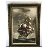 Painting of a sail ship at sea
