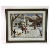 Winter village snow scene