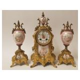 3 piece French Clock Garniture Set