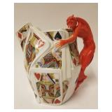 Royal Bayreuth Water Pitcher Devil & Playing Cards