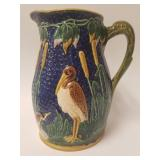 Majolica Pottery Brown Heron motif pitcher