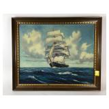Oil  on canvas sailing ship