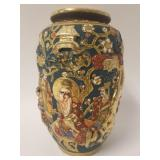 Japanese Satsuma high relief Meiji period vase