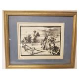 Country farm scene etching